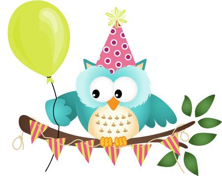 Owl Buon Compleanno Vettoriali