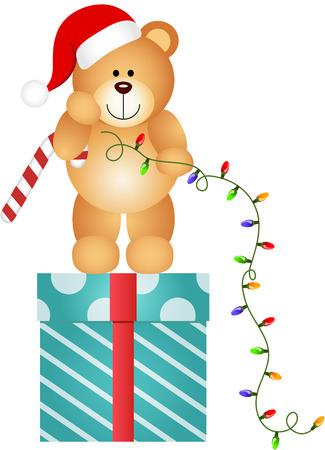 osos navideños: Oso de peluche con las luces de Navidad