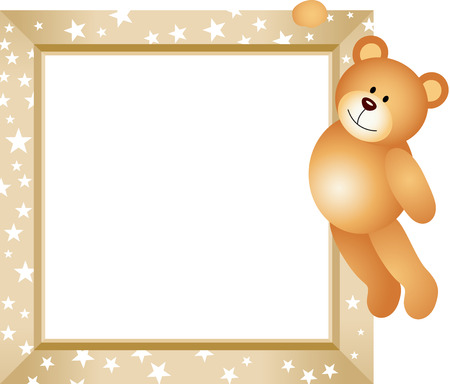 baby bear cartoon: Teddy Bear Hanging in the Frame Illustration