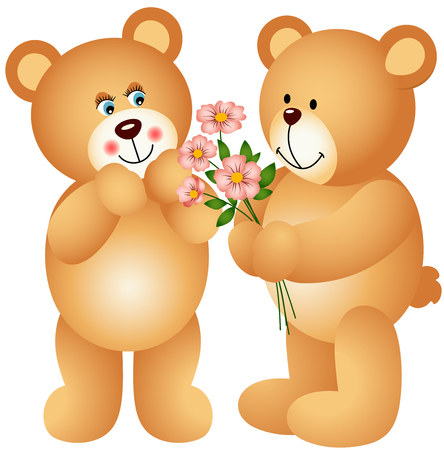 valentine s day teddy bear: Teddy Bear Offering Flowers Illustration