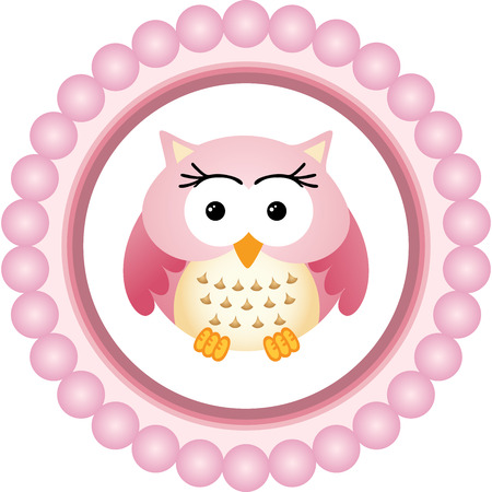 owl cartoon: Pink Owl Round Label