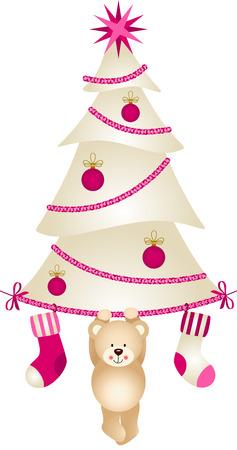 osos navideños: Árbol de Navidad con los calcetines y oso de peluche Vectores