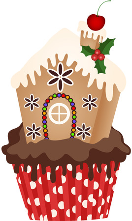 Christmas House Cupcake Vector