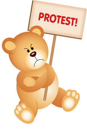 angry teddy: Angry Teddy Bear with Placard Protest