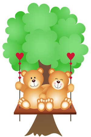 Couple Teddy Bears Swing on a Tree Vector
