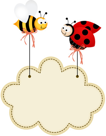 Ladybird and Bee with Cloud Label Illustration
