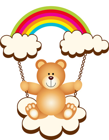 Teddy Bear in Swing Cloud Rainbow Vector