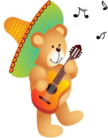 Mexican Musician Teddy Bear Vector