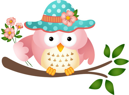Pink Owl with Flowers Vector