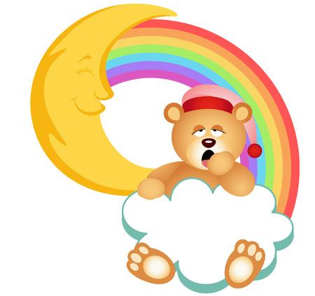 Teddy Bear Sleepy Cloud Rainbow Vector
