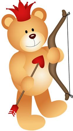 valentine s day teddy bear: Cupid Lovely Teddy Bear Illustration