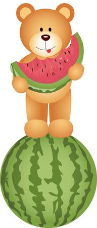 Teddy Bear Eating Watermelon Vector