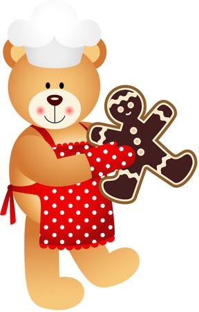 Cook Teddy Bear Christmas Cookies Man Vector