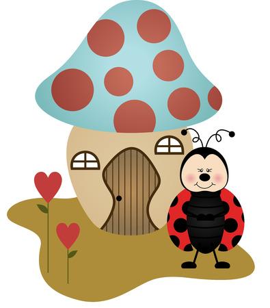 House Ladybird Mushroom Vector