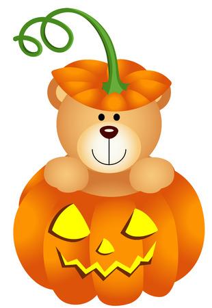 Halloween del oso de peluche de la calabaza
