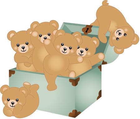 Trunk Baby Teddy Bears Vector