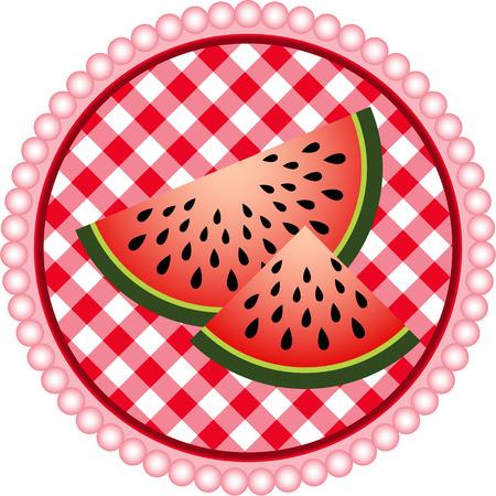 Watermelon Label Design Vector