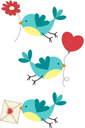 Cute Three Love Birds Vector