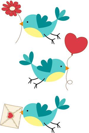 aves caricatura: Lindos Tres pájaros del amor Vectores