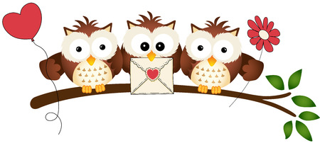 Cute Three Love Owls Vector