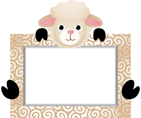 Cute Sheep With Bank Label Vector