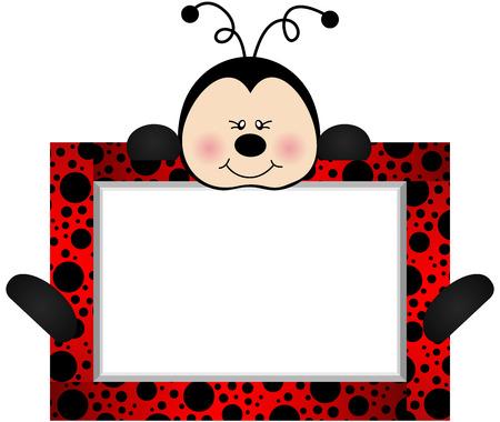 mariquitas: Ladybird Encantadora Con Etiqueta Banco