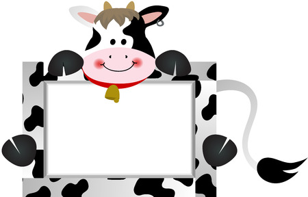 Cow with Bank Label Vector