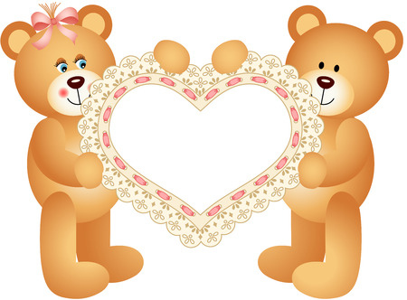 happy valentine s day: Couple Teddy Bear holding Embroidered Heart Illustration