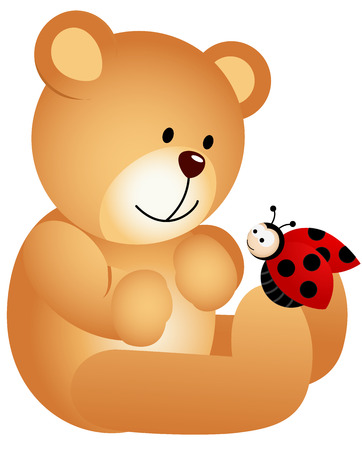 ladybirds: Teddy Bear with Ladybird Illustration