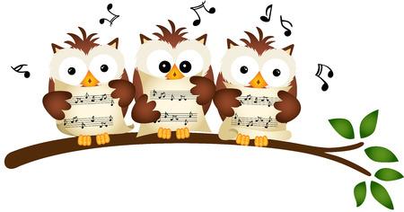 Three Owls Choir Singing Illustration
