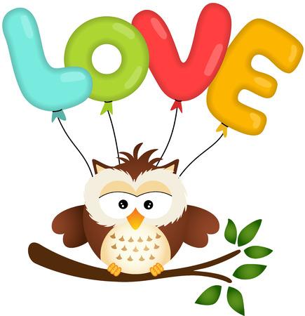 Cute Owl with Love Balloon Vector