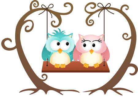 Cute couple owls in love on a swing Vector