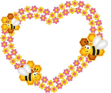 eat healthy: Bee and his honey flower heart frame