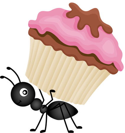 de zomer: Ant Carrying Cupcake