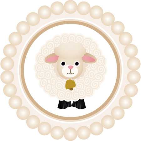 Cute Sheep Round Label Vector