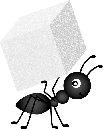 cartoon ant: Ant Carrying Sugar Cube