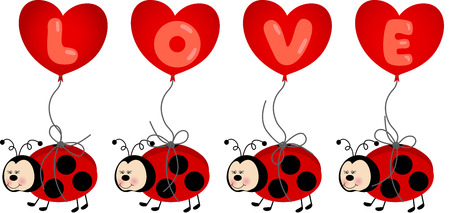 Ladybird Holding Love Heart Balloon Vector