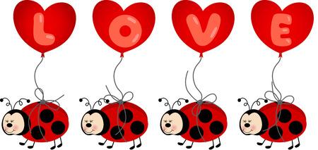 ladybird: Ladybird Holding Love Heart Balloon
