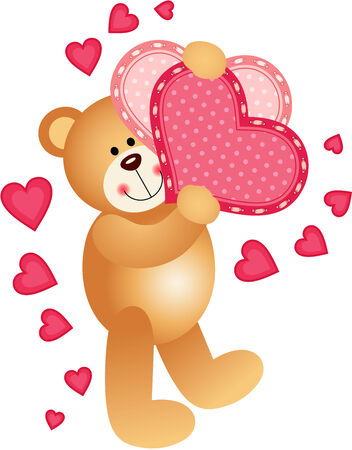 Teddy Bear Holding a Hearts Vector