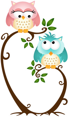Cute Couple Owls On The Tree Vector