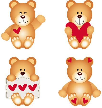 Cute Teddy Bear With Heart Vector