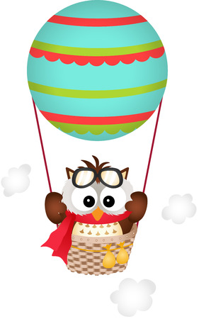 air baloon: Owl in a Hot Air Balloon Illustration
