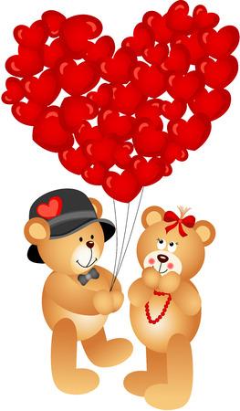valentine s day teddy bear: Teddy Bear Couple with Heart Shaped Balloons