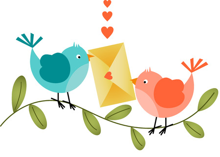 Lovely Birds with Envelope