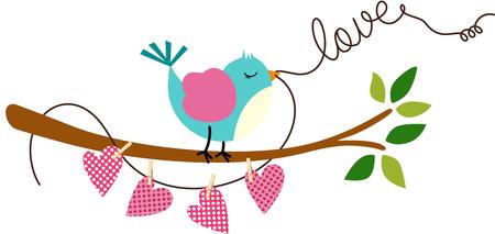 birdie: Cute Love Bird on Branch Tree