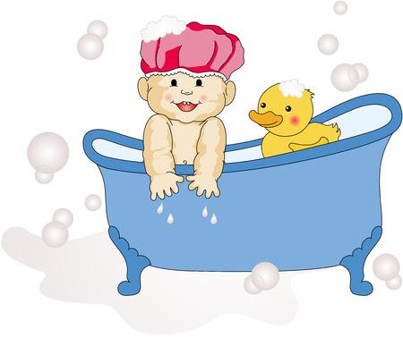 baby bath: Baby Taking a Bath