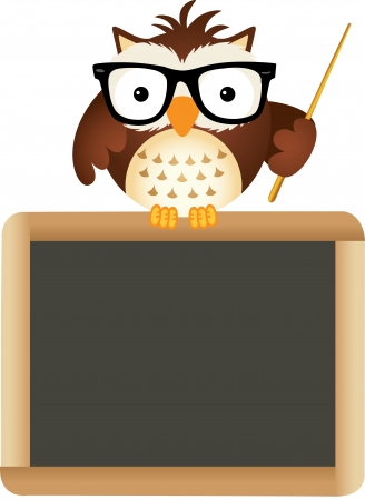 Owl Teacher with School Board Vector