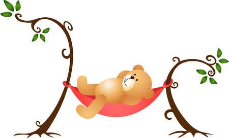 Teddy Bear Swinging Vector