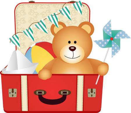 Osito de peluche en la maleta de los juguetes