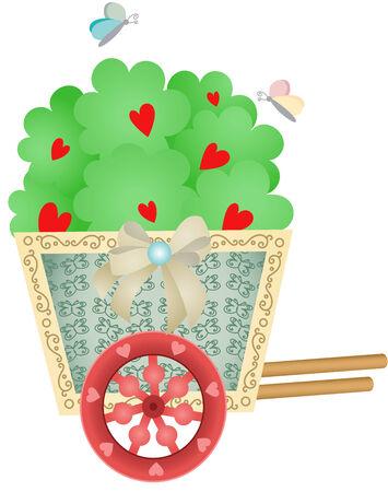 car garden: Cart Garden with Heart Tree